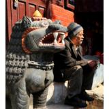 Old Man with Lion in Durbar Square