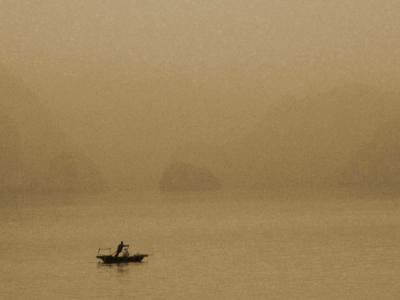 Lone Boat on Ha Long Bay